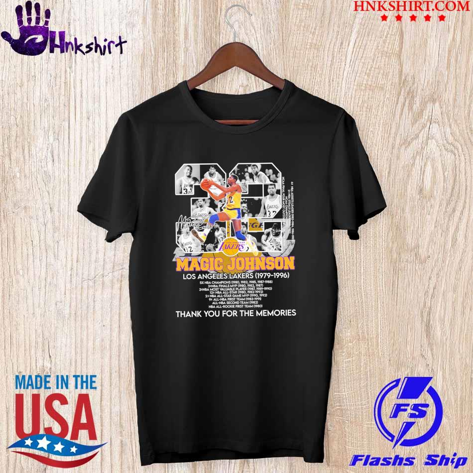 Los Angles Lakers Magic Johnson 32 1979 1996 thank you for the memories shirt