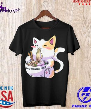 Cat Kawaii Anime Japanese Eating Ramen Shirt